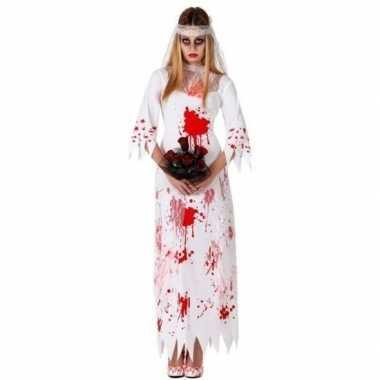 Bloederige zombie/spook bruid verkleed pak dames
