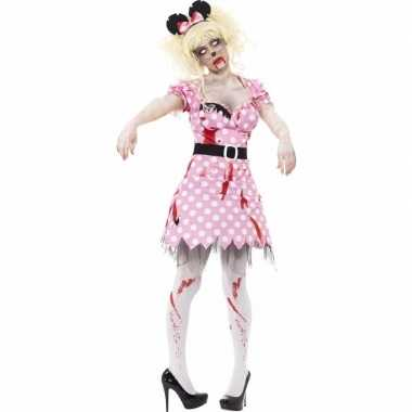 Halloween roze zombie minnie pak dames